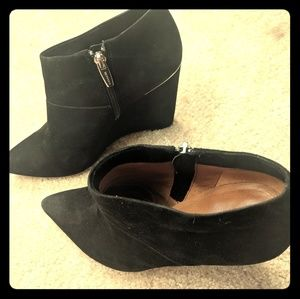 Coach black suede booties pointed toe